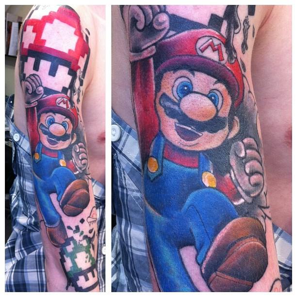 super mario and mario mushrooms colored tattoos