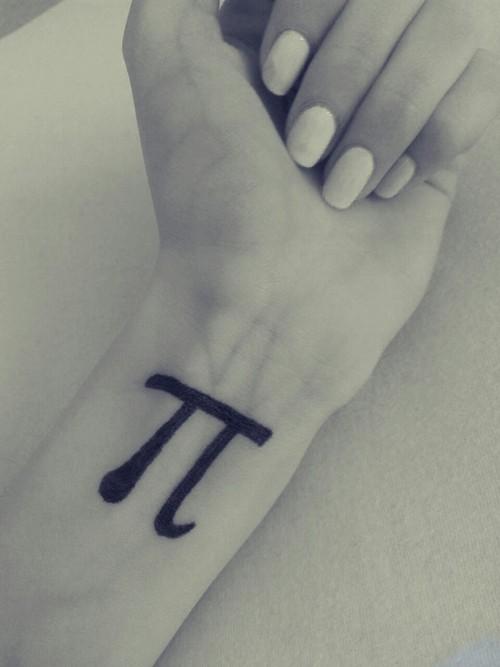 Black Ink Pi Unique Tattoo On Wrist
