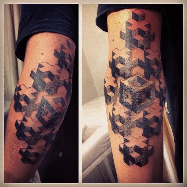 Optical illusion tattoo arm cleared