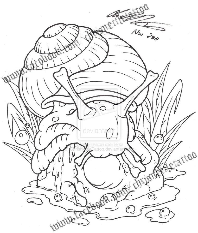 Fantastic Outline Snail Tattoo Design