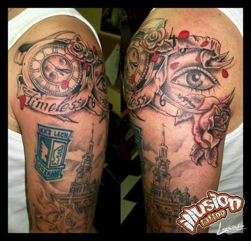 grey ink clock with timeless banner and eye optical illusion tattoo. Black Bedroom Furniture Sets. Home Design Ideas