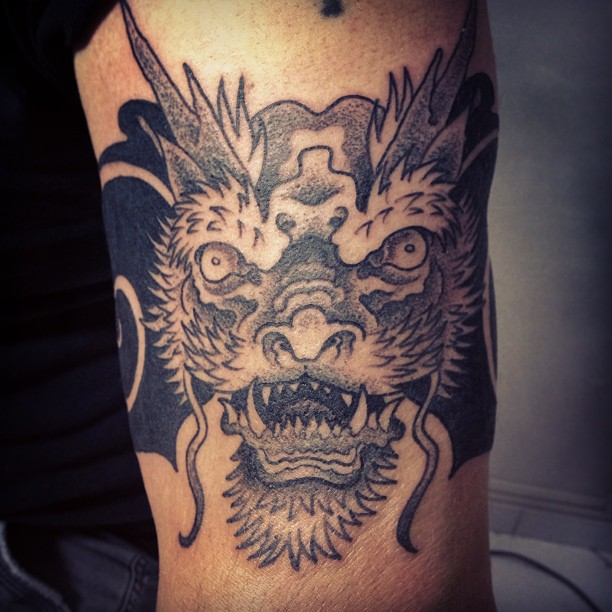 Traditional Japanese Dragon Head Tattoo