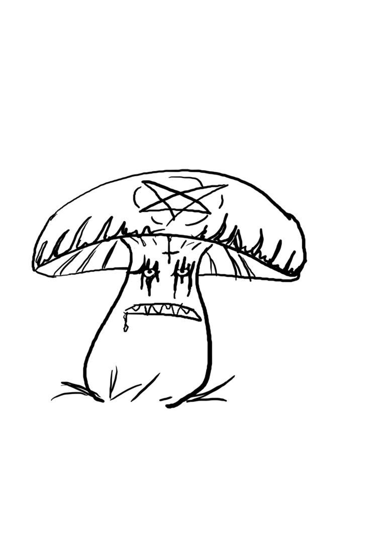 simple outline mushroom tattoo design