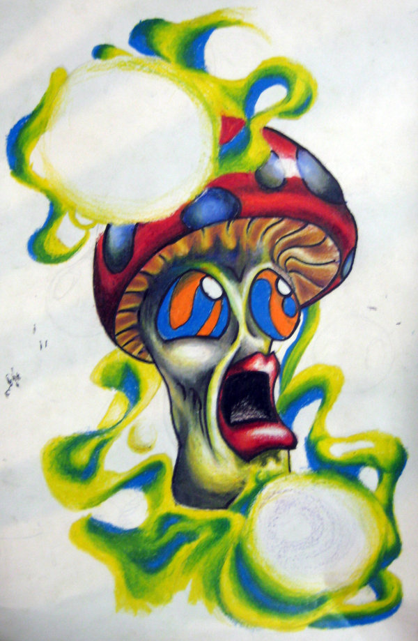 Trippin Mushroom Color Ink Tattoo Design