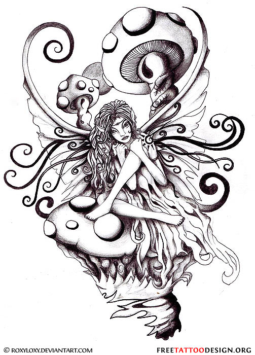Trippy Fairy Mushroom Tattoo Design