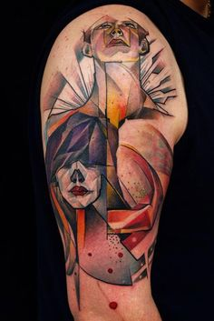 Abstract Color Ink Pig Tattoo On Half Sleeve