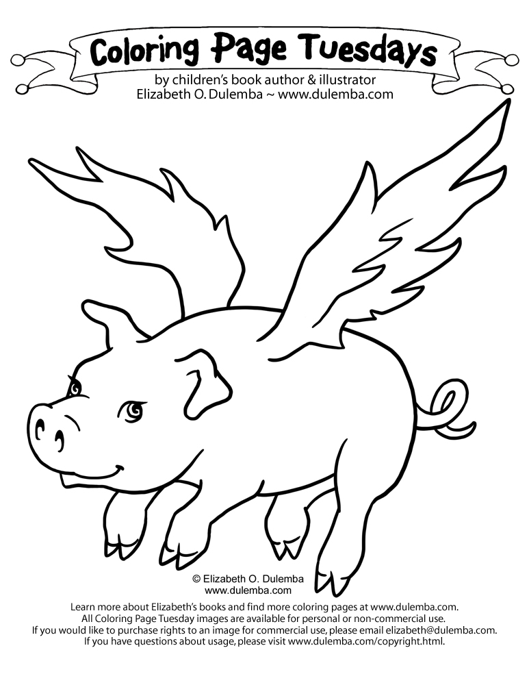 Outline winged pig tattoo design for Flying pig coloring pages