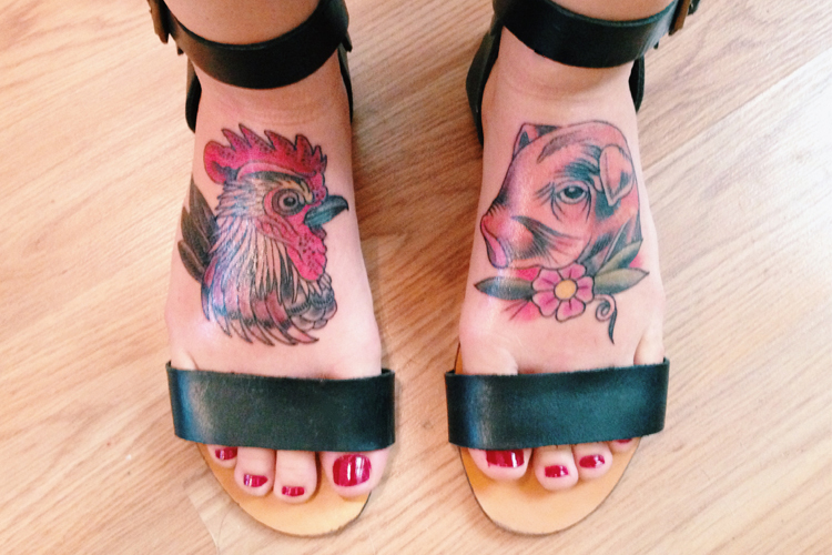 rooster and pig head with flower tattoos on girl feet