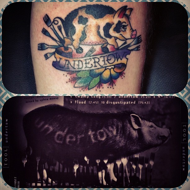 Undertow Banner and Pig Tattoo On Bicep