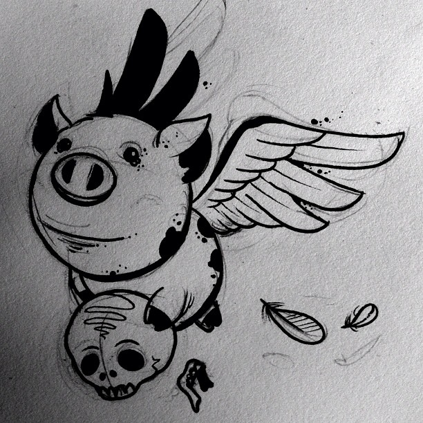 Winged Pig With Skull Tattoo Design