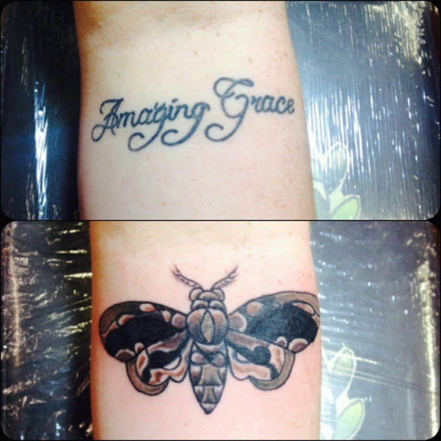 amazing grace moth tattoo on arm. Black Bedroom Furniture Sets. Home Design Ideas