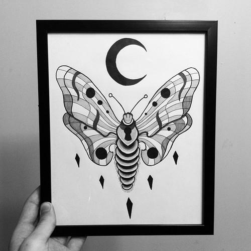 Black moon and moth tattoo design for Black moon tattoo