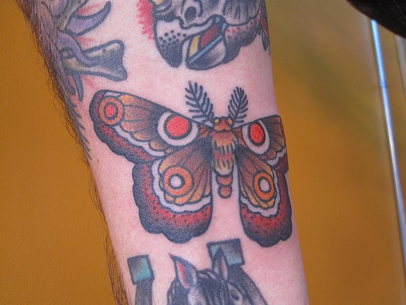 Brown ink moth tattoo for Brown tattoo ink