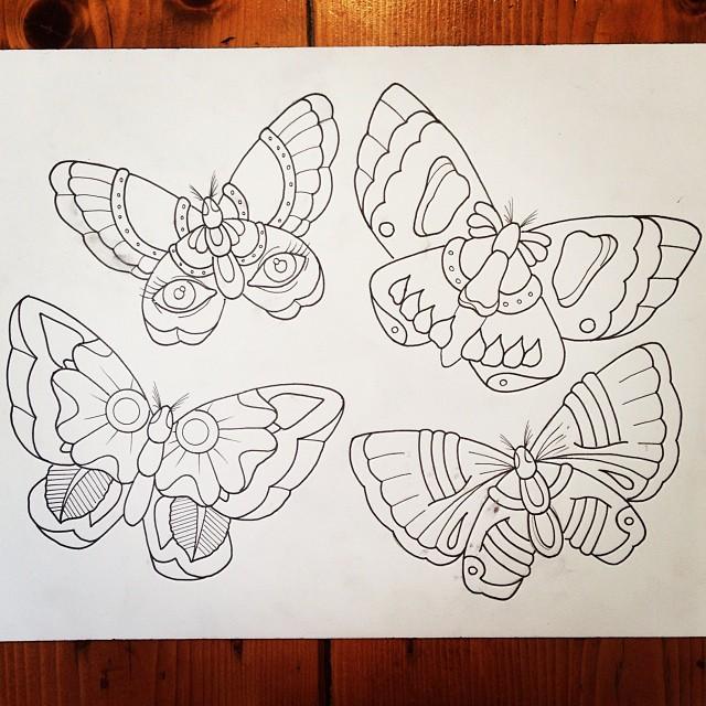 classic grey ink moth tattoos designs. Black Bedroom Furniture Sets. Home Design Ideas