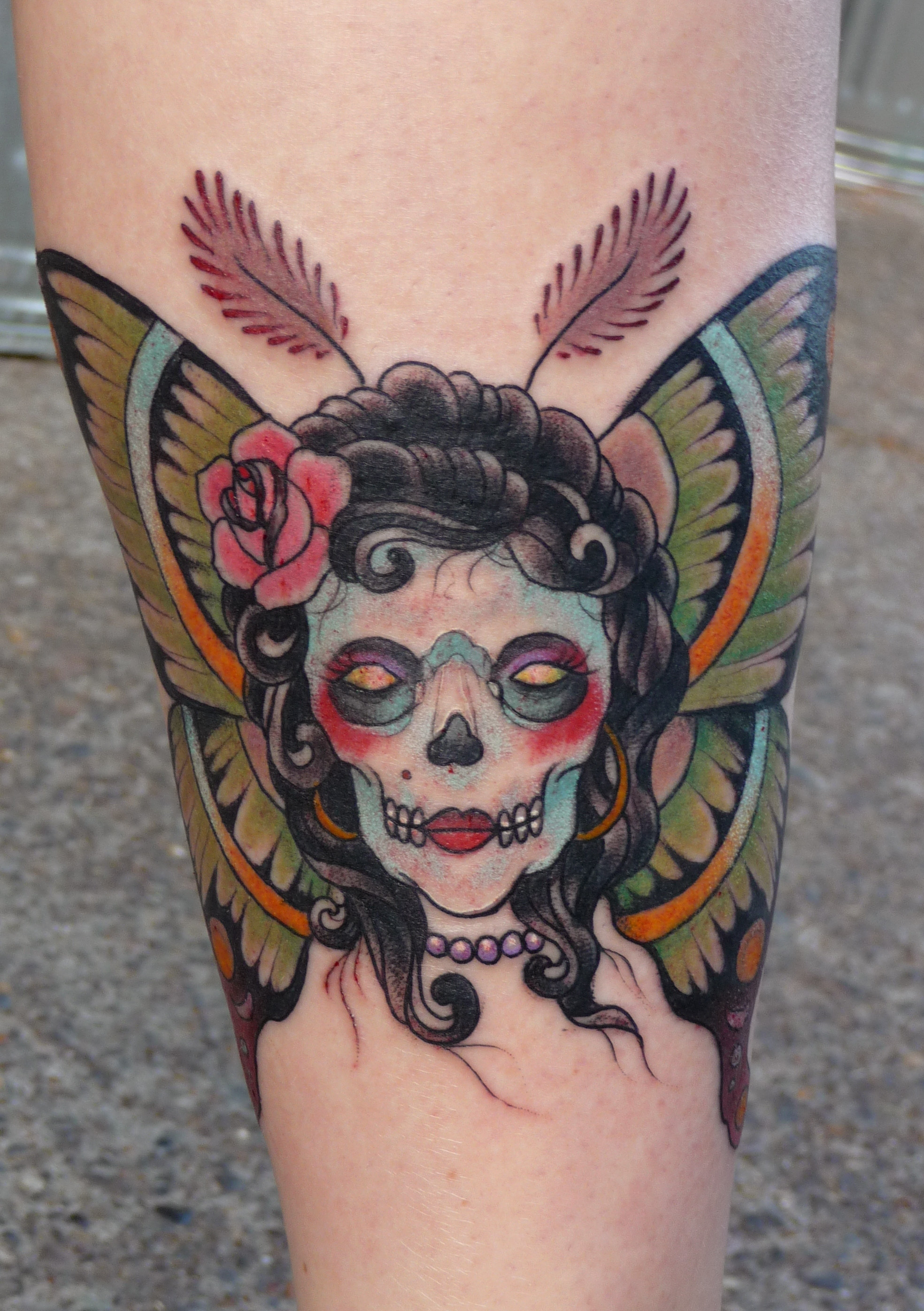 Moth tattoo images designs for Color skull tattoos