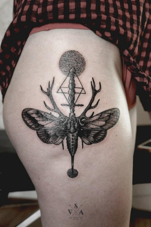 Geometric grey ink moth tattoo on thigh for Grey tattoo ink