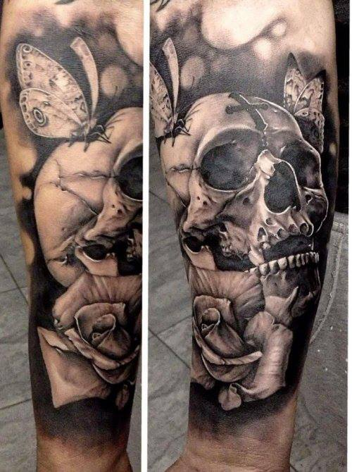 Skull And Roses Tattoo Black And Grey