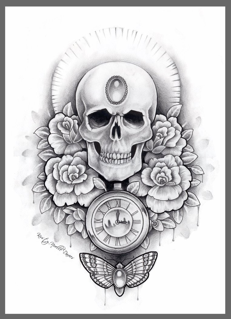 Skull And Rose Tattoo Drawings Viewing Gallery