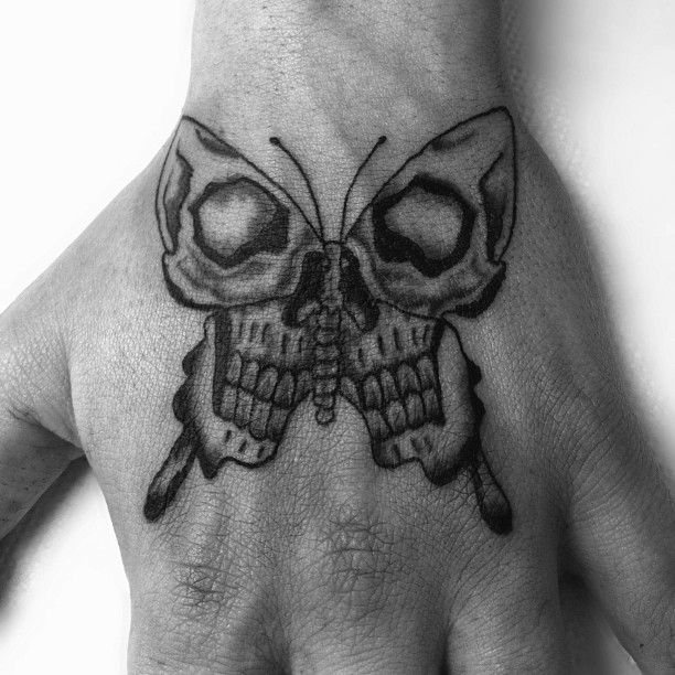Moth Skull Meaning Skull Grey Ink Moth Tattoo
