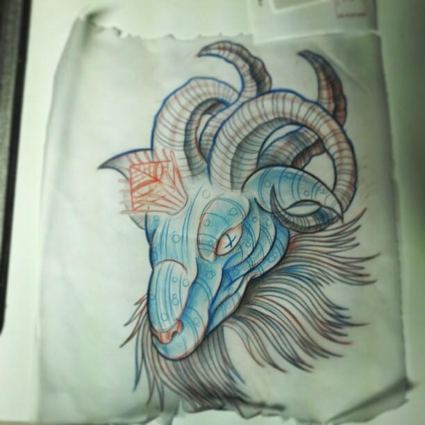 blue ink goat head tattoo design. Black Bedroom Furniture Sets. Home Design Ideas