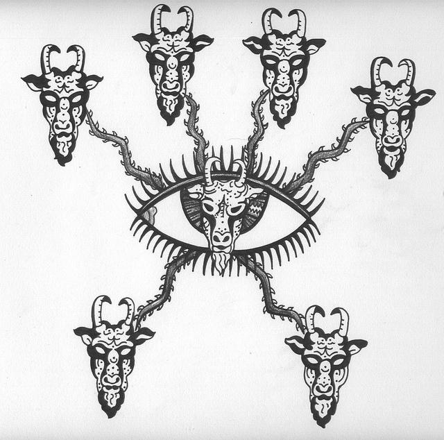 crazy goat head tattoo design. Black Bedroom Furniture Sets. Home Design Ideas