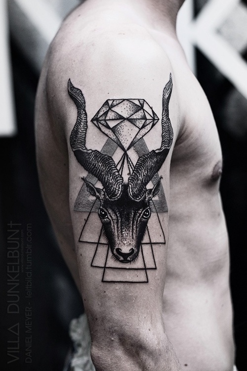 geometric grey ink goat tattoo on half sleeve. Black Bedroom Furniture Sets. Home Design Ideas