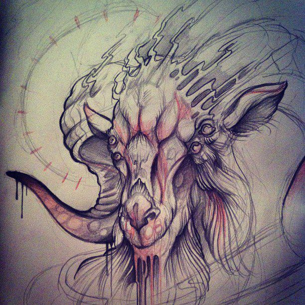 the gallery for geometric goat head tattoo. Black Bedroom Furniture Sets. Home Design Ideas