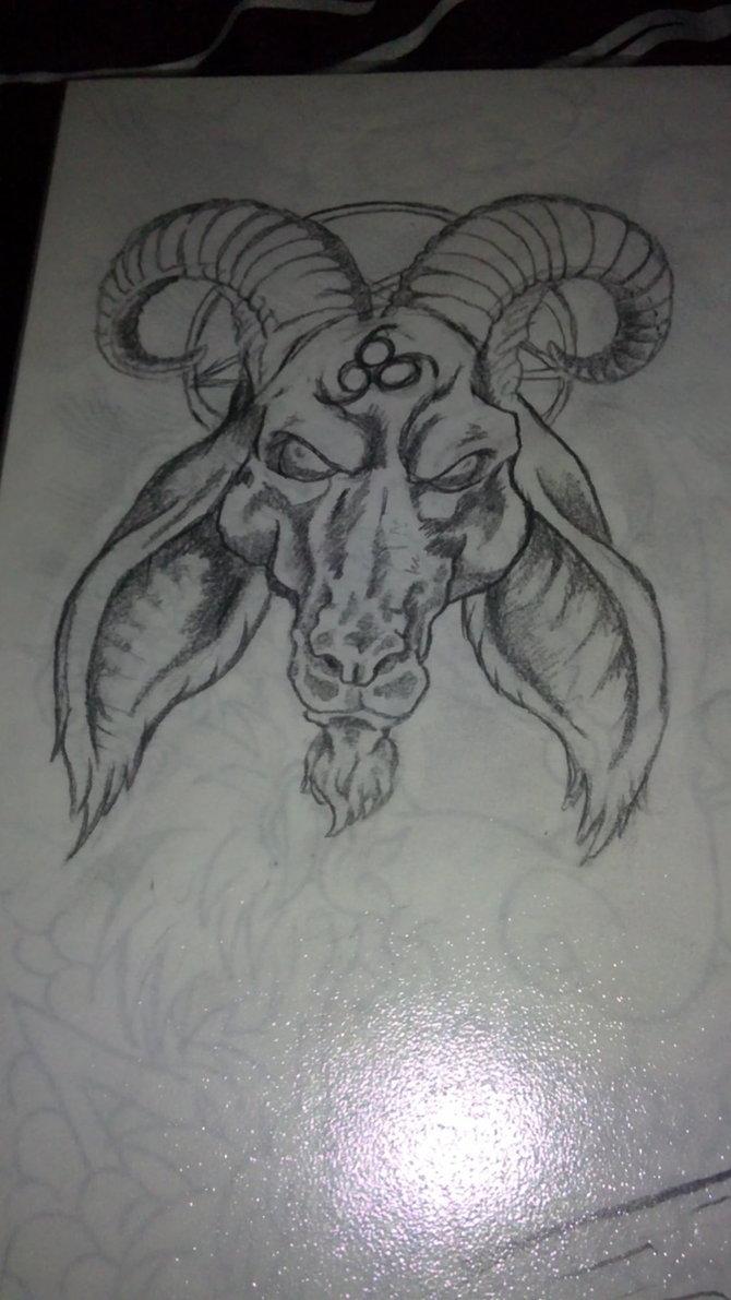 Grey Ink Goat Head Tat...