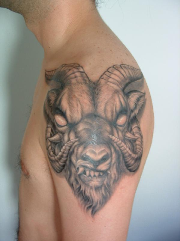 Evil goat tattoo - photo#2