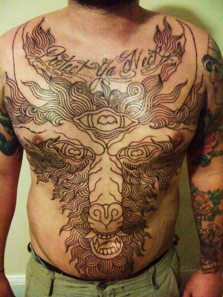grey ink large goat head tattoo on frony. Black Bedroom Furniture Sets. Home Design Ideas