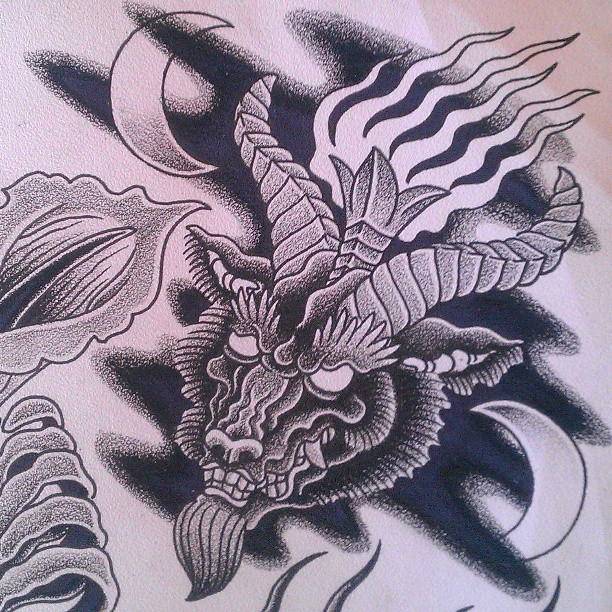 goat head grey ink tattoo design. Black Bedroom Furniture Sets. Home Design Ideas