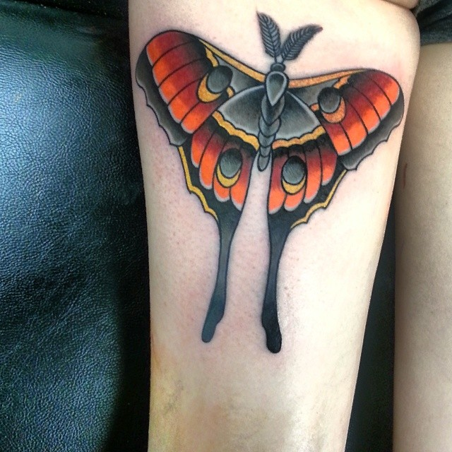 Luna Moth Colored Ink Tattoo On Right Thigh