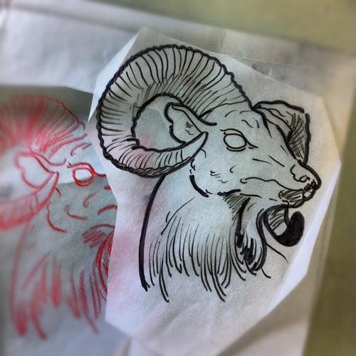 outline goat head tattoo design. Black Bedroom Furniture Sets. Home Design Ideas