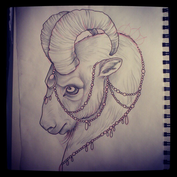 goat head tattoo drawing. Black Bedroom Furniture Sets. Home Design Ideas