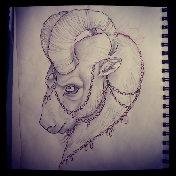 goat head tattoo drawing. Black Bedroom Furniture Sets. Home Design Ideas