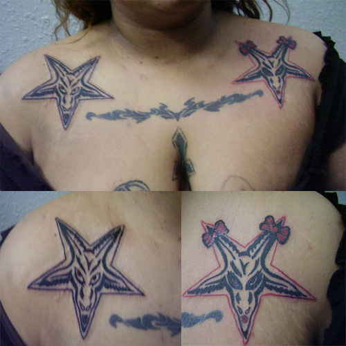 Pentagram Goat Head Tattoo On Collarbones