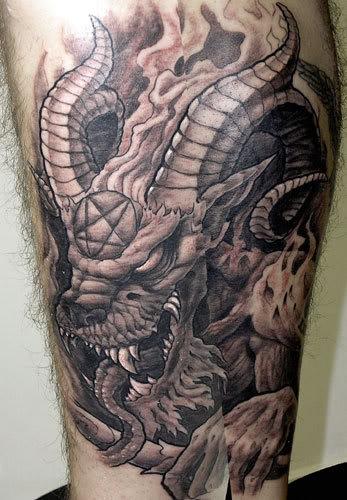 Satan Goat Grey Ink Tattoo