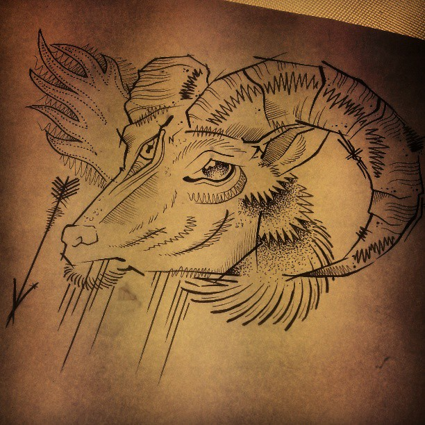 unique grey ink goat head tattoo design. Black Bedroom Furniture Sets. Home Design Ideas