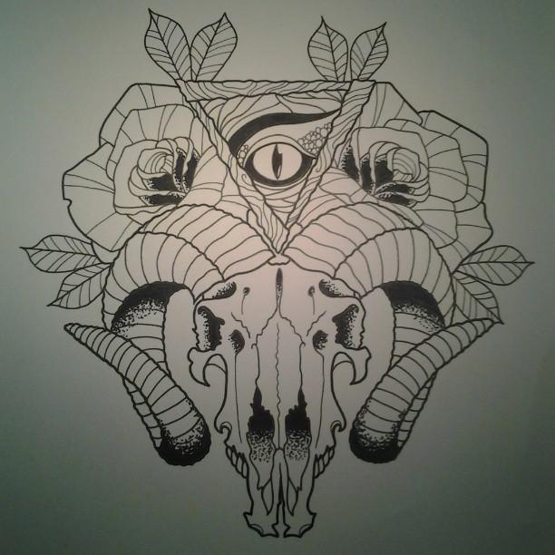 Traditional goat skull tattoo