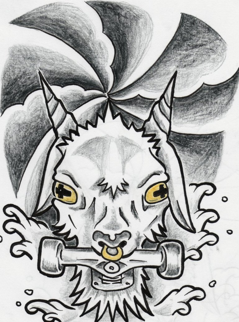 Wonderful Grey Ink Goat Head Tattoo Design
