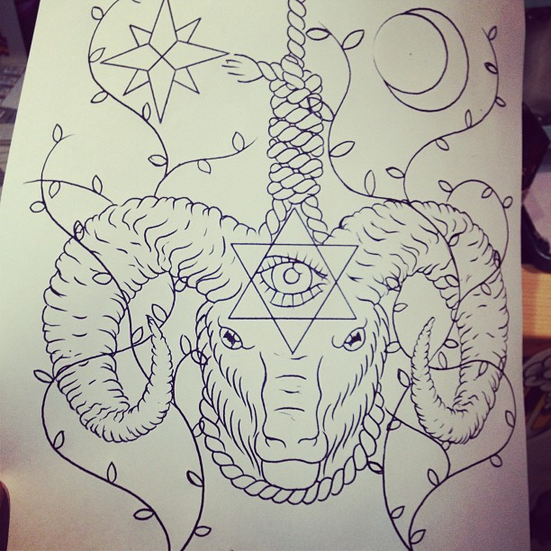 Wonderful Grey Ink Goat Tattoo Design