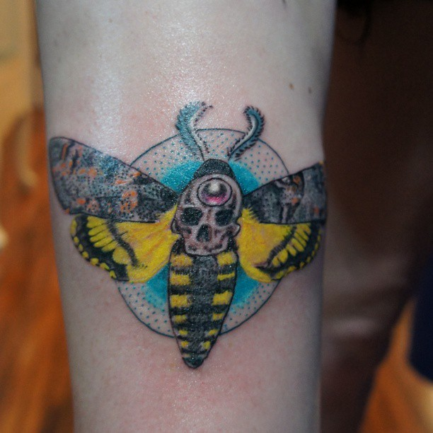 Yellow And Grey Ink Moth Tattoo