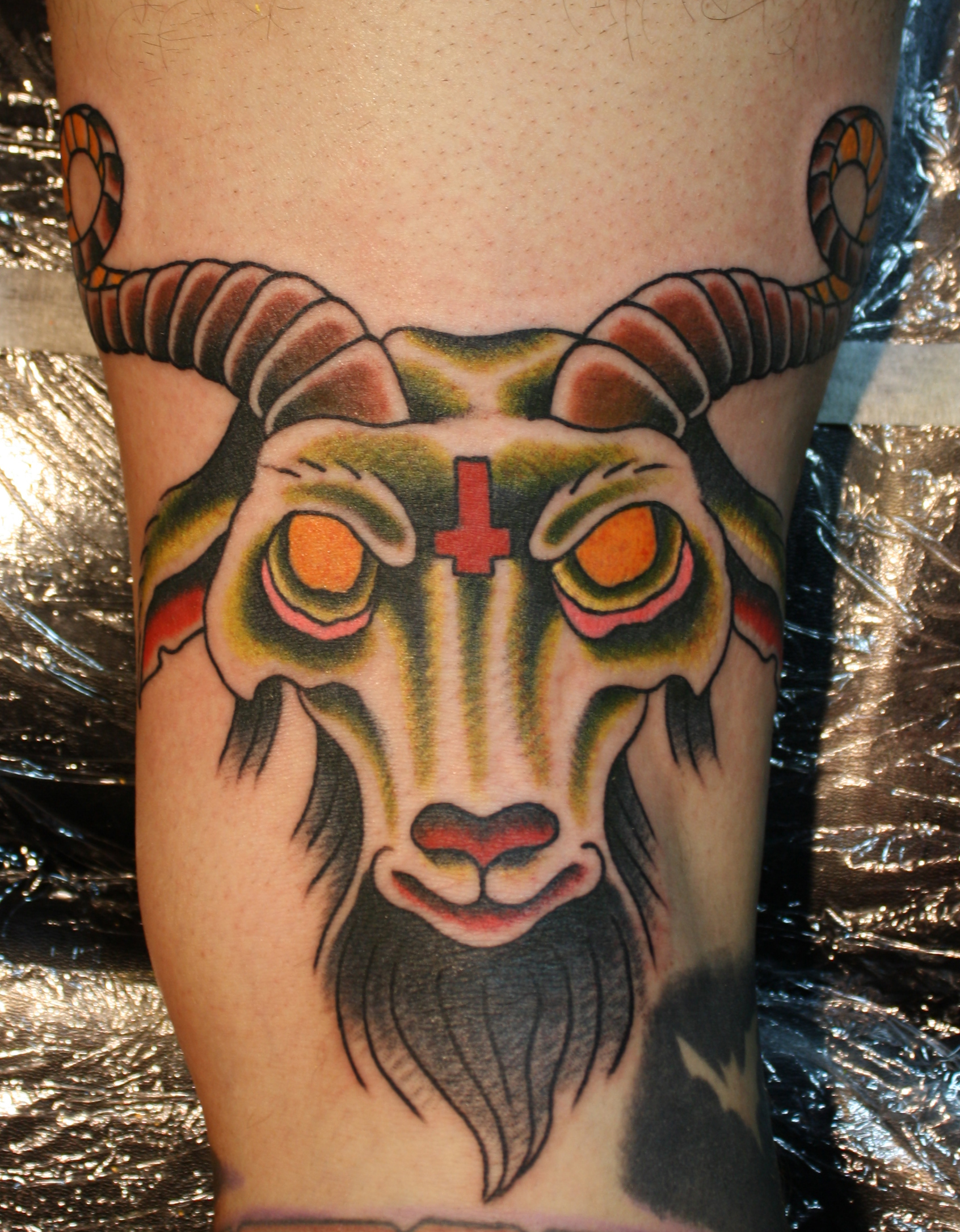 Yellow Eyes Goat Head Tattoo