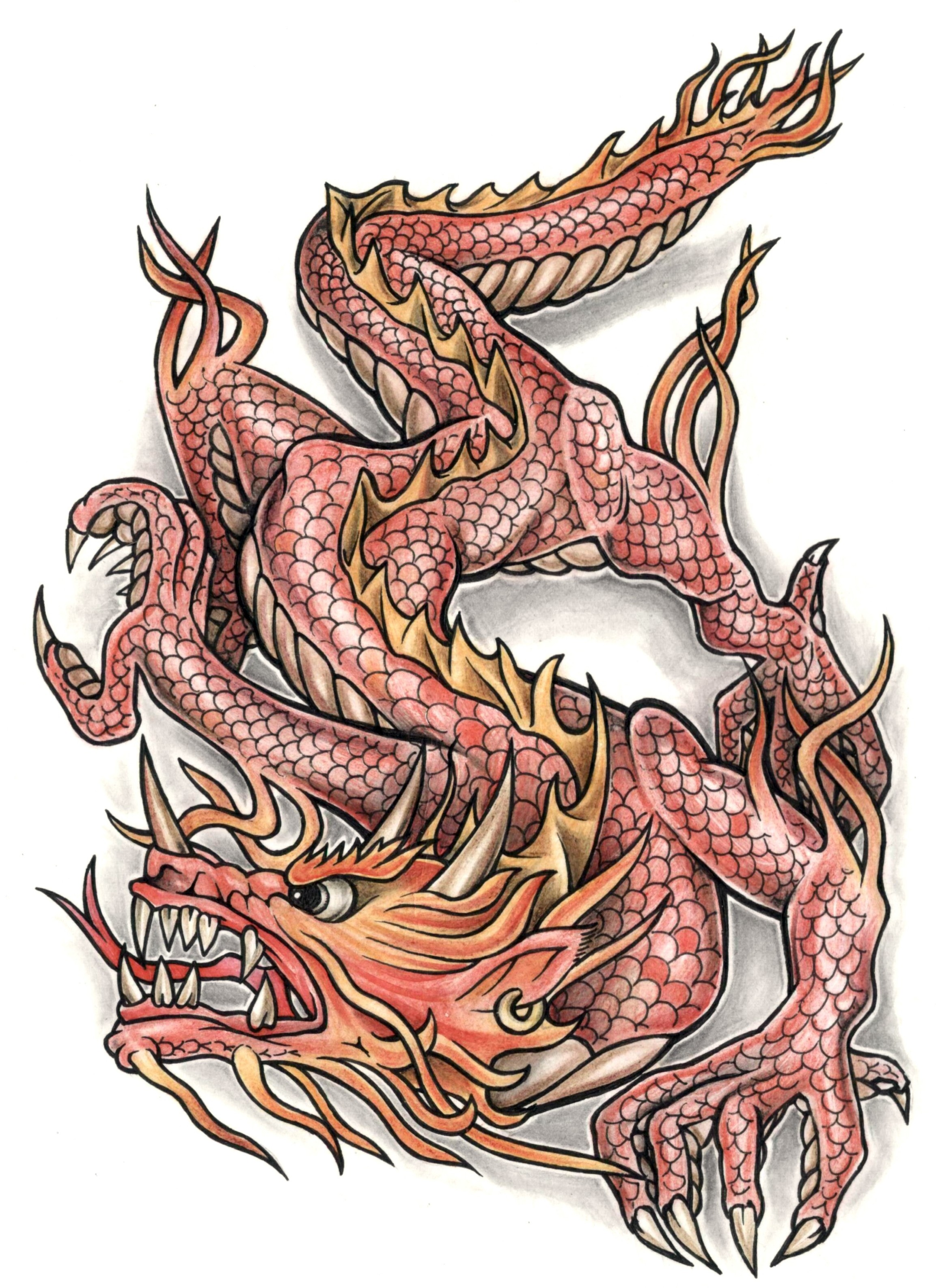 Awesome colored red ink dragon tattoo design for The girl with the dragon tattoo common sense media