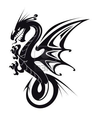 best black ink dragon tattoo design. Black Bedroom Furniture Sets. Home Design Ideas