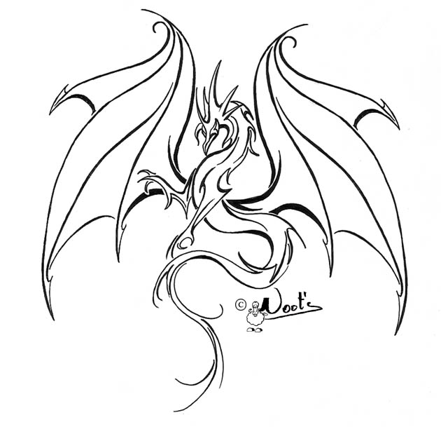 Line Drawing Dragon Tattoo : Best outline dragon tattoo design