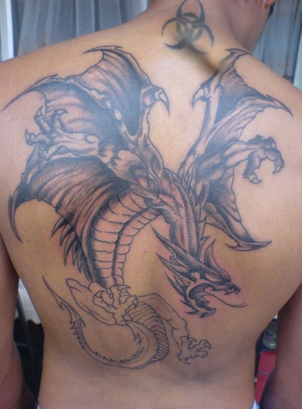 big dragon tattoo on back. Black Bedroom Furniture Sets. Home Design Ideas