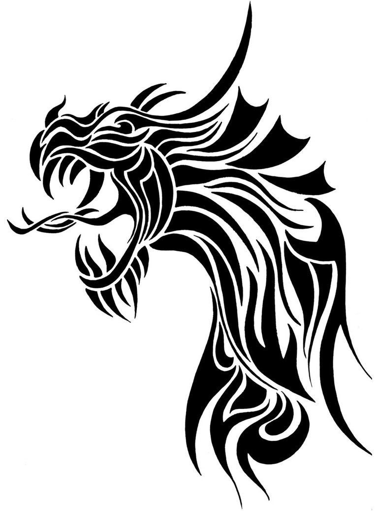 Black Ink Tribal Dragon Head Tattoo DesignTribal Dragon Head Designs