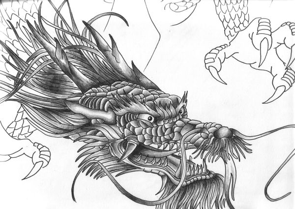 Chinese Dragon Head Tattoo Design