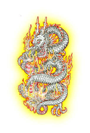 grey ink chinese dragon tattoo design